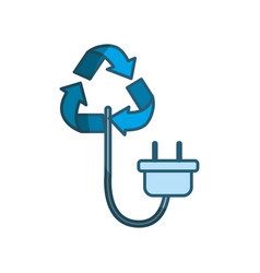 Blue reduce symbol with power cable icon vector