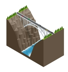Bridge over the river in the mountains vector
