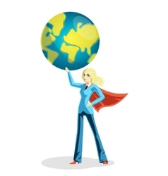 business woman holding world globe vector image