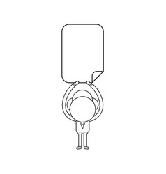 businessman character holding up blank paper vector image