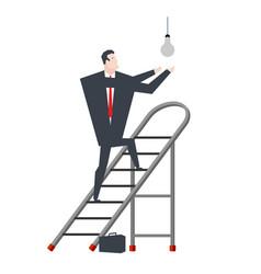 Businessman on stepladder is changing light bulb vector