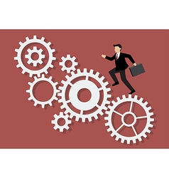 Businessman running on mechanism system vector