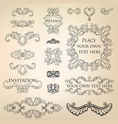 Calligraphic floral element page decor vignette vector
