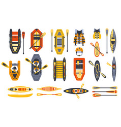 canoe sport equipment set vector image