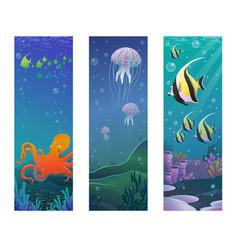 Cartoon underwater sea animals vertical banners vector