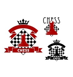 Chess game icons with pawn and chessboard vector