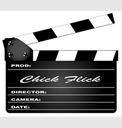 chick flick clapperboard vector image