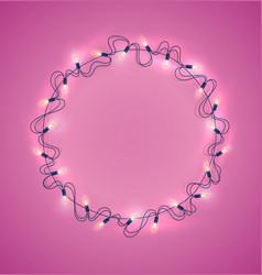 christmas lights realistic garland on pink vector image