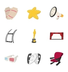 Cinema icons set cartoon style vector