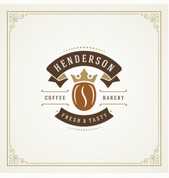 coffee shop label design template vector image
