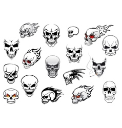 Collection halloween and horror skulls vector