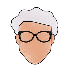 Color pencil front view faceless old man with vector