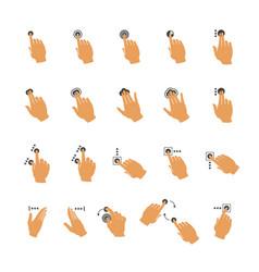 Common touchscreen hand gestures set vector