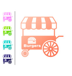 Coral fast street food cart with awning icon vector