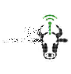 Cow radio transmitter dissolved pixel icon vector