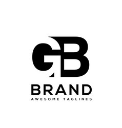 creative letter gb logo design black and white vector image