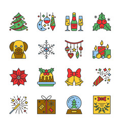 cristmas new year line icon set editable stroke vector image