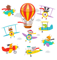 Cute animals flying on airplane and helicopter vector