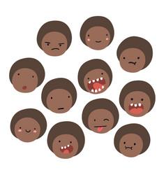 Cute black boy emoji isolated faces vector