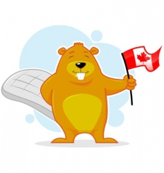 Cute canadian beaver with flag vector
