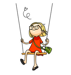 cute cartoon girl playing on a swing isolated vector image