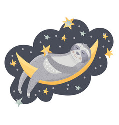 cute cartoon sloth sleeping on the moon vector image