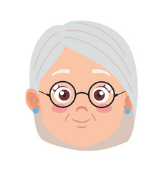 Cute happy grandmother with glasses head avatar vector