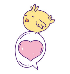 cute little chicken cartoon on love speech bubble vector image