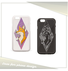 Design case for phone fox vector