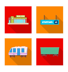 Design of train and station symbol set of vector