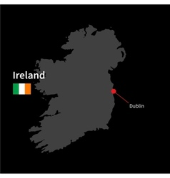Detailed map of Ireland and capital city Dublin vector image