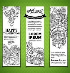 Doodles Thanksgiving vertical banners set vector