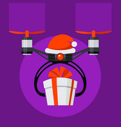 Drone with santa hat and red ball nose gift box vector
