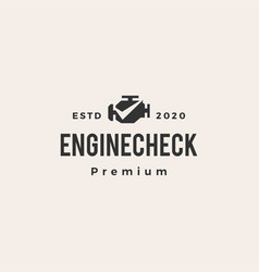 engine check hipster vintage logo icon vector image