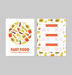 fast food menu template restaurant brochure vector image