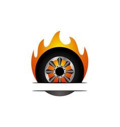 fire tire emblem template vector image