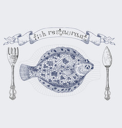 Fish restaurant banner with flatfish vector
