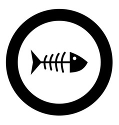 Fish sceleton black icon in circle vector