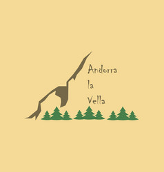 Flat icons on theme of andorra logo mountains vector