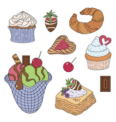 Food sweets and cakes -02 vector