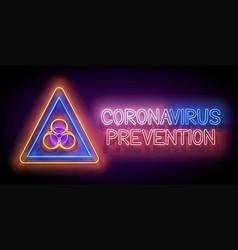 glow biohazard sign world coronavirus vector image
