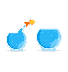 goldfish jumping out of bowl aquarium vector image