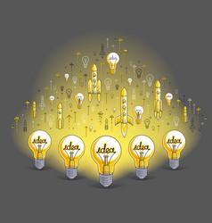 group shining light bulbs and set icons vector image