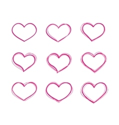 Hand-drawn felt-tip pen red heart shapes vector