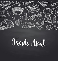 hand drawn meat elements on black vector image