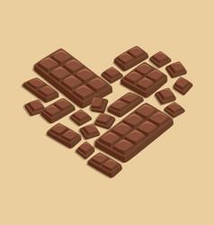 heart milk chocolate bar vector image