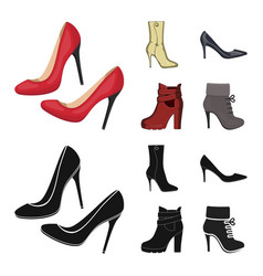 Heel and high icon set of vector