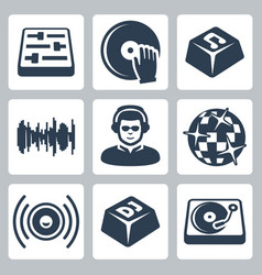 isolated dj and music icons set vector image