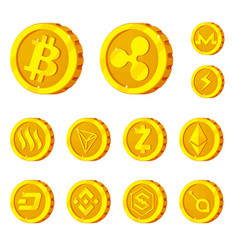 isolated object of cryptocurrency and coin logo vector image