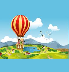 kids riding hot air balloon vector image